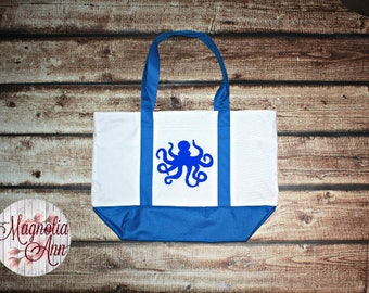 Large Octopus Zippered Boat Tote Bag in Royal Blue, Navy Blue & Black