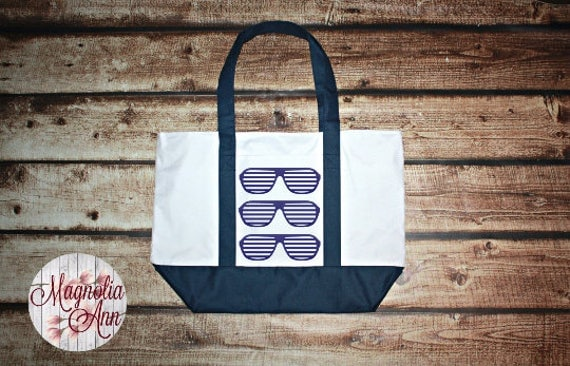 Large Sunglasses Zippered Boat Tote Bag in Royal Blue, Navy Blue & Black