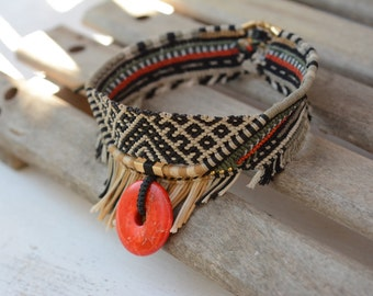 Handmade Ethnic- tribal choker Macrame Necklace with howlite stone, nativeamerican style, wild jewelry, spiritual, tribaljewelry