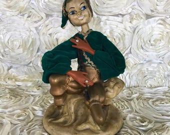 Vintage plastic doll statue genie Indigo Boy Flute