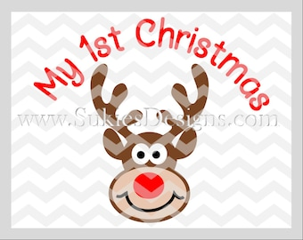 My 1st Christmas SVG File For Cricut and Cameo DXF for Silhouette Studio 1st Christmas svg, Newborn svg, Christmas svg files, reindeer svg