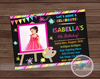 Painting Party Invitation, Painting Birthday Party Invitation with Photo, Art Birthday Party Invitation, Art Party Invitation, Digital File