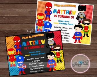 Superhero Party Invitation, Superheroes Birthday Invitation, Superheroes Birthday Party Invitation, Super Hero Invitation, Digital File