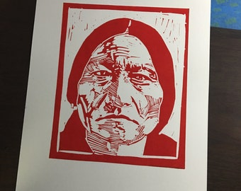 Sitting Bull, a Linocut Portrait. Proceeds go to Help Dakota Pipeline Protesters