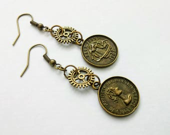Steampunk Earrings Vintage Coin and Cogs
