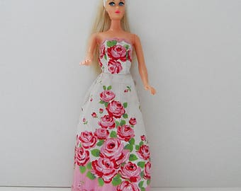 Sublime Vintage Roses Hand Made Dress w/ Red Slides/Mules ~.~ for Barbie~PLEASE Read Description