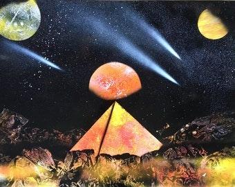 Yellow pyramid spray painting
