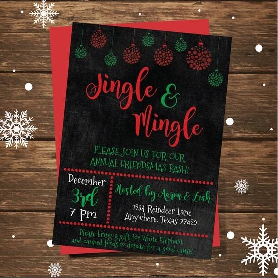 christmas party invitation friendsmas invitation jingle