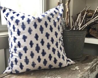 Indigo Pillow Cover with Linen