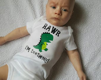 RAWR I'm Teething! Baby dinosaur onesie.