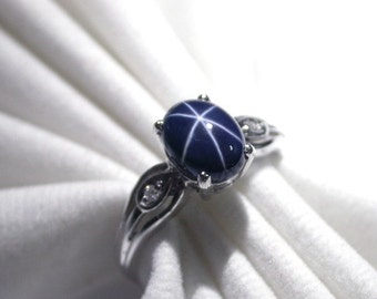 Wedding ring star 3.55 ct natural blue star sapphire ring silver sterling.