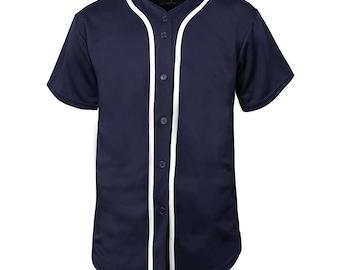 Mens Baseball JERSEY T-Shirts Team Tee Button Down Solid Plain Sports_1UPA0001_NavyWhite