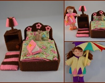 """Pdf pattern – Waldorf inspired 3"""" tall dollhouse doll with bedroom furniture and 6 sets of cloths"""