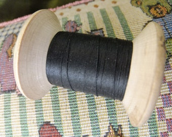 Vintage Large wooden cotton reel black thread Donisthorpe and co ltd Leicester prop/ vintage thread/vintage spool/vintage sewing