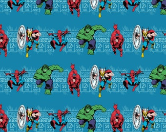 Marvel Fabric - Camelot Marvel Comics Price & Hero Stripe in Teal 100% cotton Fabric by the yard, D214