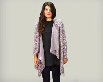 Gray-pink animal print cotton cardigan /cotton loose cardigan /women asymmetrical cardigan / gift for her /Loose Cardigan / Outerwear