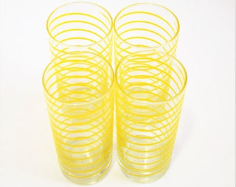 Set of 4 helical yellow-striped tumblers/ Dinner Glasses/