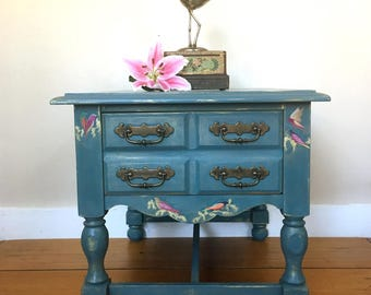 Vintage painted console table. lamp table. Coffee table. Decoupaged furniture. Side table. Blue table. Vintage furniture. storage.