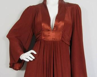 RARE 1970s OSSIE CLARK for Radley Maxi Dress, Bohemian, Hippy, Abigails Party