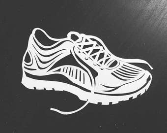 Hand cut paper running shoe - - Papercutting