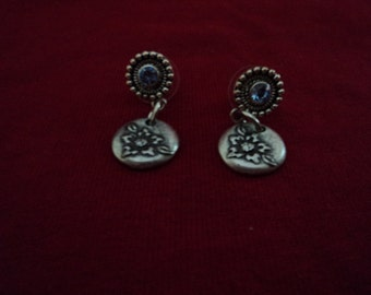 flower earrings with light blue stone