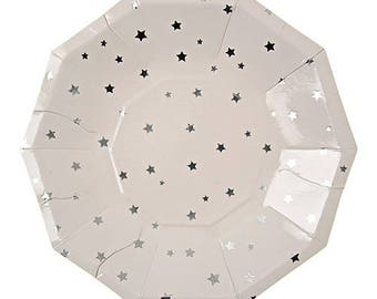Small White Plates,Silver Star Plates,Cake Plates,Silver Cake Plates,Grad Cake Plates,Small Sliver Plates,Silver Stars,Graduation Plates