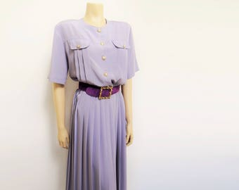 Vintage Dress, 1980s, UK16, Lilac, Pleated Dress, PinUp, Lady, Feminine, Vintage Clothing, Ladies Dress, Purple Dress