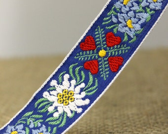 Blue, red, and white Floral Embroidered Ribbon, embroidered trim, fourth of july trim, american embroidered ribbon, Headband trim  (LC60015)