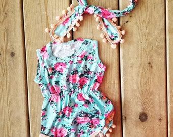 Floral baby girl onesie and headband