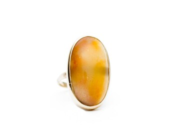 Agate Ring, 14K Yellow Gold Agate Ring, Carmel Colored Oval Agate Ring, Oval Agate Ring, 14K Gold Agate Ring, Oval Ring