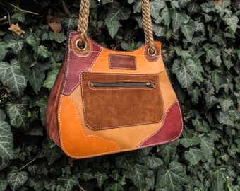 Handmade Leather Purse - SPECIAL PRICE / Brown Leather Women Shoulder Bag / Hand Made Leather Handle Bag /