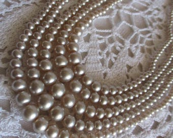 "Vintage Multi-Strand Champagne Coloured Faux Pearl Choker Necklace 14"" L Unsigned c1950 Mother's Day Buy"
