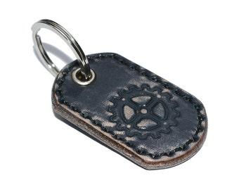 Black Leather Key Chain / Leather Key Holder, Leather Key Fob, Mens Keychain / Keychain Wristlet, Key Ring Holder, Key Fob Wristlet