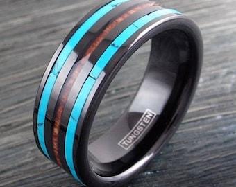 Black Tungsten Hawaiian Koa Wood Turquoise Wedding Band Ring Jewelry