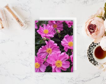 Peony Floral Card  - Blank Note Cards - Floral Card