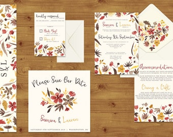 Cranberry and Mustard Watercolour Floral Wedding Invitations Stationery Set - Printed or Digital Download - Red Wedding - Wedding Printable