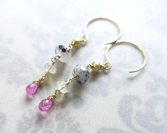 Pink Sapphire and Opal Earrings, Pink Sapphire Earrings, Opal Earrings