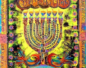 INSTANT DOWNLOAD Colorful menorah Painting Digital file