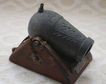 Replica Cannon, Mortar Cannon, Desk Paperweight, Vintage Souvenir, Mortero Plaza, Siglo XVI, Wood And Metal, Miniature Cannon, Desk Decor