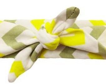 Yellow, Grey and White Chevron Top Knot Headband