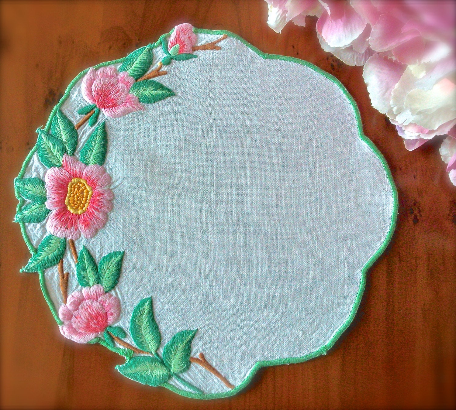Vintage hand embroidered small wild roses linen