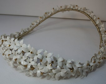 SAMPLE SALE. Bridal headpiece. Floral wreath. Bridal white headpiece. Wedding headpiece. Bridal crown .