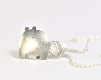 Pendant beaver 925 silver with necklace motif unique catch fresh design jewelry handmade in Germany