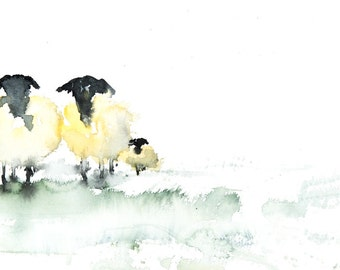 Sheep  in a Field no.1 - Signed Limited Edition print of my original Watercolour Painting