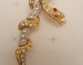 JOAN RIVERS Faberge Inspired Serpent Brooch