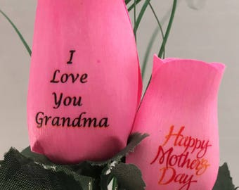 Grandmother 2 Rose Wooden Rose Bouquet for Mother's Day - Personalize with name or photo