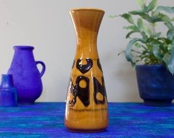 Dümler and Breiden: Vintage West German Pottery Vase 102-20 in Ochre Yellow - UK Seller