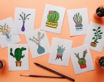 Happy Plant Family - Original Watercolor Greeting Cards with Envelope - Handdrawn