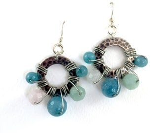 Semi Precious Disk Earrings with Sterling Silver Findings