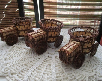 Small Wicker Baskets - Trio of Vintage Car Shaped Baskets